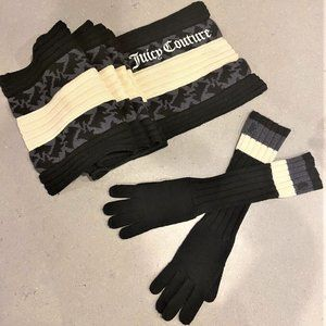 Juicy Couture 100% Wool Scarf and Gloves